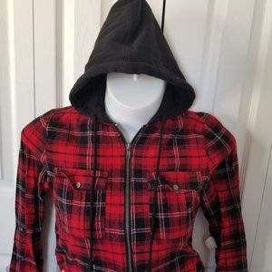 MOD Red & Black Flannel Zip-Up Hooded Small